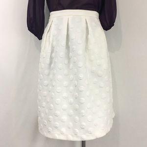 Boden White Knee Length Textured Knit Skirt Sz4